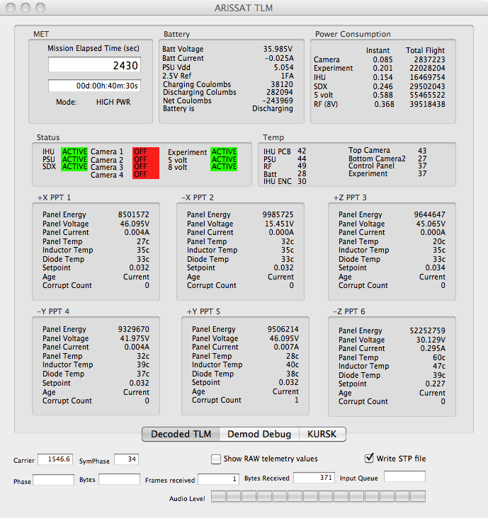 Capture télémétrie ARISSAT sur Mac OS X