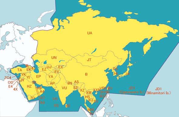 Cartes entités DX Asie