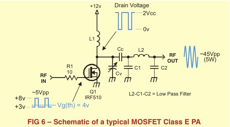 Amplificateur ClasseE, schéma par NA5N