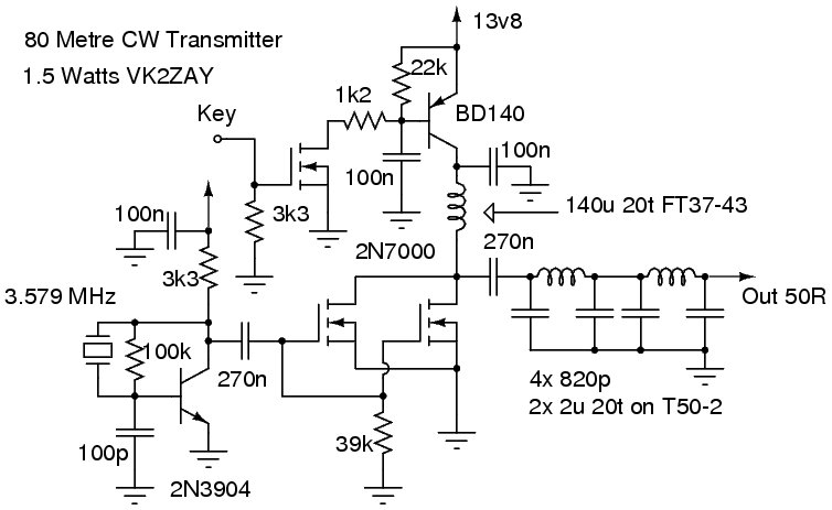 Schéma émetteur 1,5W 3,5 MHz
