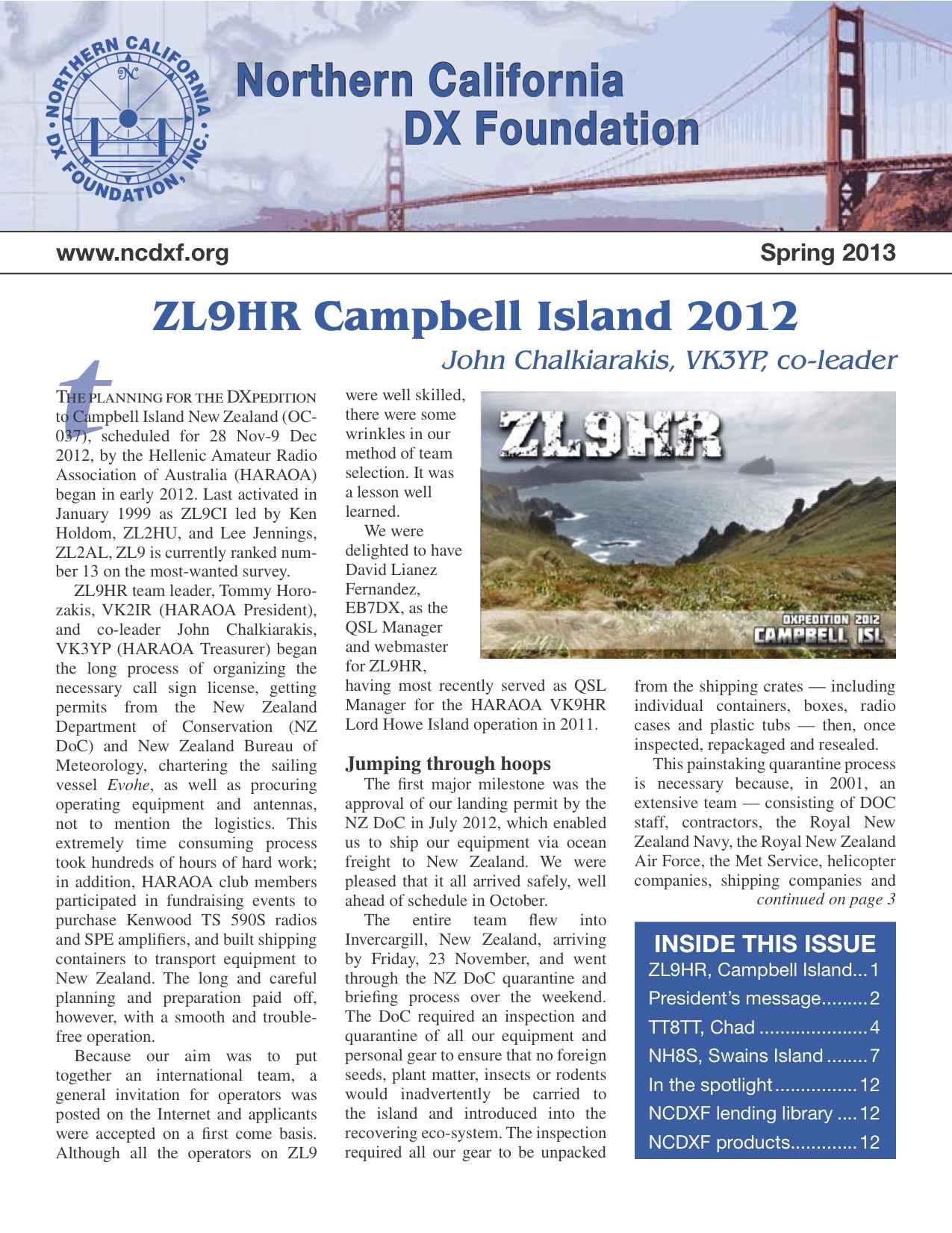 Première de couverture Bulletin NCDXF Printemps 2013