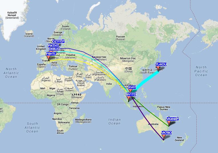 Capture carte WSPR XV4Y 40 mètres